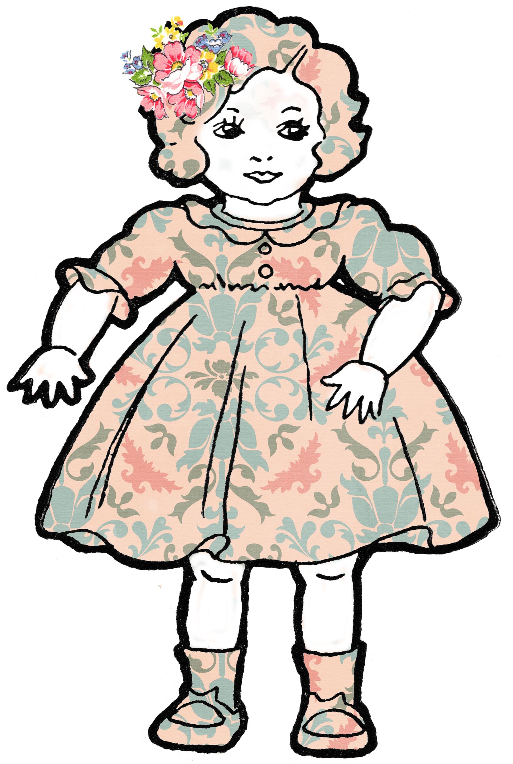 1643x2443 Adorable Altered Art Shabby Dolls Vintage Clip Art