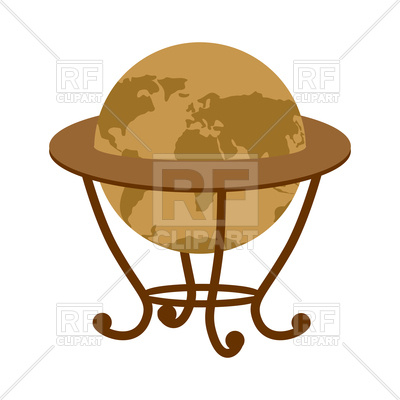 400x400 Antique Vintage Globe On Stand Royalty Free Vector Clip Art Image