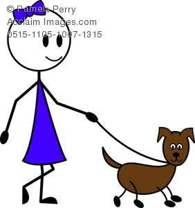 282x300 Clip Art Illustration Of A Stick Figure Young Girl Walking Her
