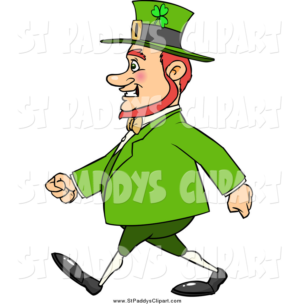 1024x1044 Vector Clip Art Of A Happy Chubby St Paddys Day Leprechaun Walking