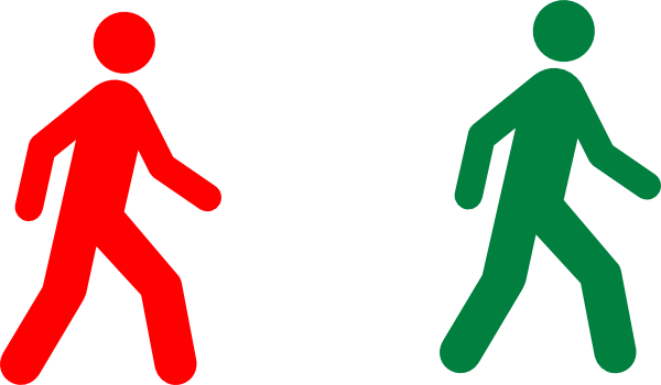 600x350 Walking Man Red Green Clip Art