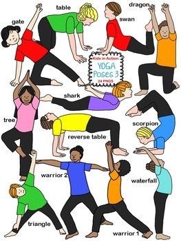263x350 Kids In Action Yoga Poses Bundle Includes 8 Exclusive Images By