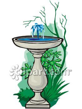 263x350 Royalty Free Clip Art Image Bird Bath With A Bubbling Fountain