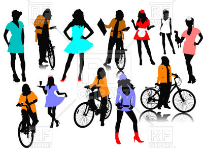 400x291 Silhouettes Of Women Royalty Free Vector Clip Art Image