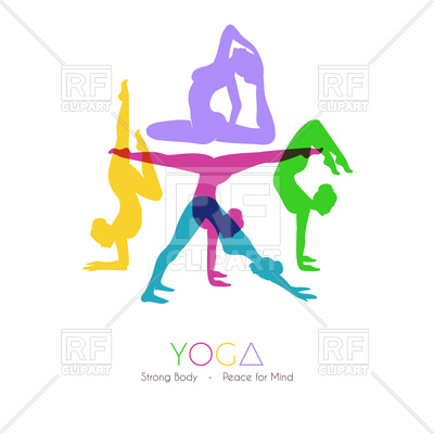 400x400 Women Doing Yoga Asanas Royalty Free Vector Clip Art Image