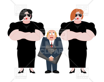 400x316 Bodyguard Women And Businessman Royalty Free Vector Clip Art Image