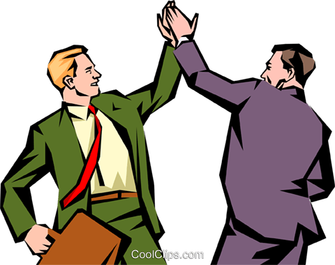480x380 Men Giving Each Other A High Five Royalty Free Vector Clip Art