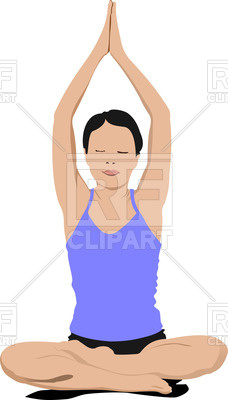 228x400 Silhouette Of Woman In Yoga Pose Lotus Royalty Free Vector Clip