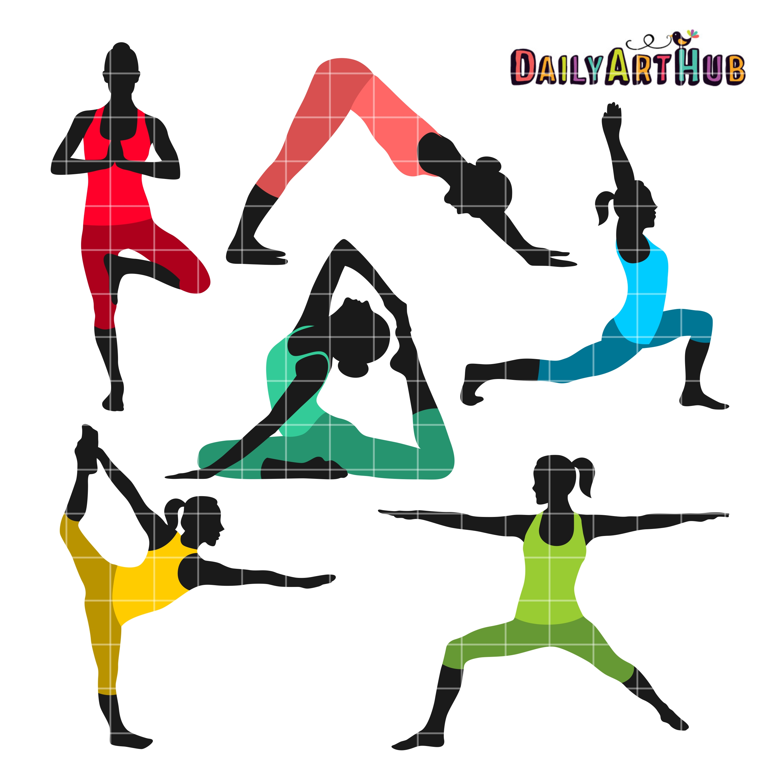 2664x2670 Yoga Poses Clip Art Set AEUR Daily Hub Free