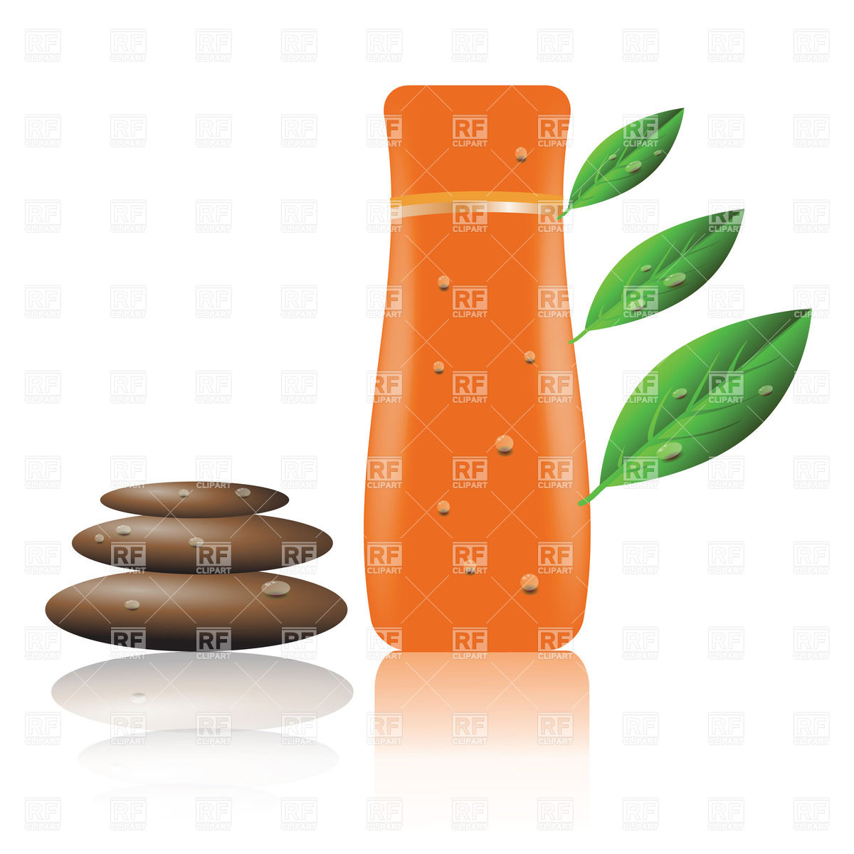 1200x1200 Orange Bottle Of Shampoo With Leaves And Zen Stones Royalty Free
