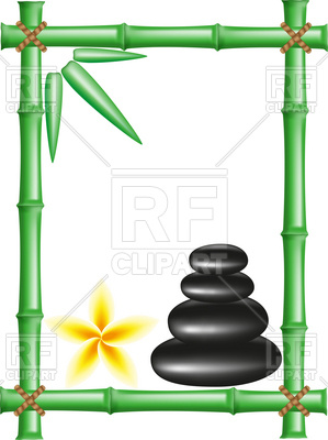 299x400 Spa Zen Stones And Bamboo Frame Royalty Free Vector Clip Art Image