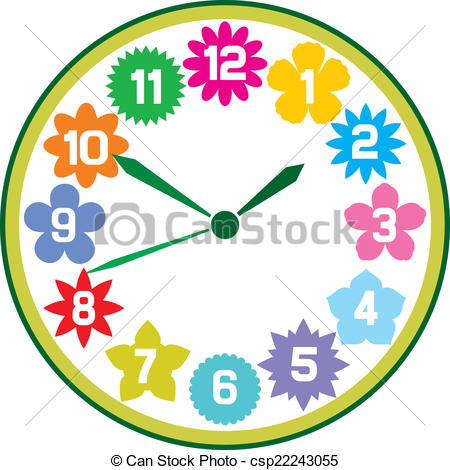 450x470 Clock With Flowers Clock With Flowers, Floral Clock Clipart