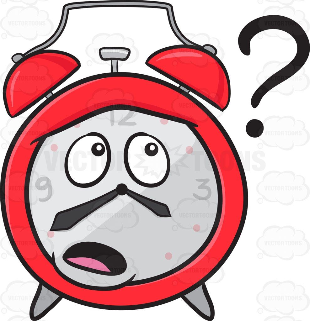 988x1024 Clueless Alarm Clock Looking At A Floating Question Mark Sign