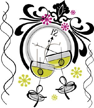 304x350 Royalty Free Clip Art Image Martinis And A Clock Celebrating