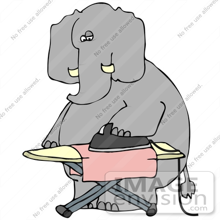 450x450 Clip Art Graphic Of A Dry Cleaning Elephant Ironing A Cloth