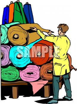 259x350 Worker Displaying Bolts Of Fabric In Rolls