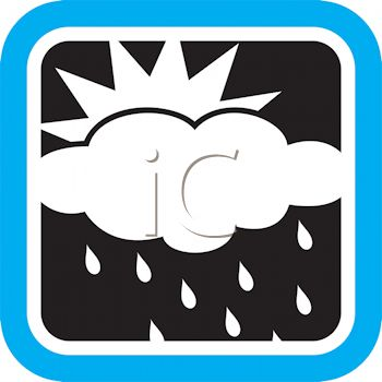 350x350 Weather Icon Showing The Sun On A Rainy Day