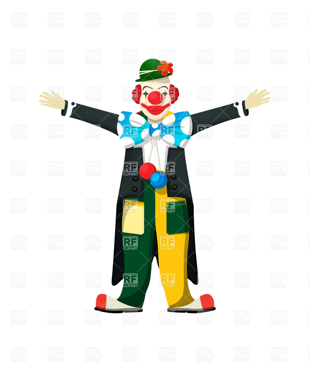 1000x1200 Clown In Tailcoat With Open Arms Royalty Free Vector Clip Art