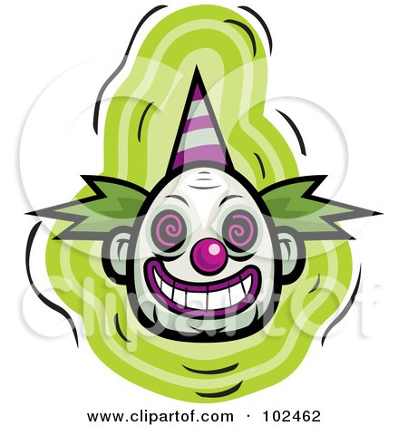 450x470 Royalty Free (Rf) Clipart Illustration Of An Evil Clown Face