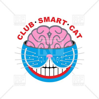 400x400 Club Smart Cat. Animal And Brain Emblem. Royalty Free Vector Clip