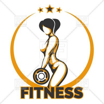 400x400 Fitness club emblem Royalty Free Vector Clip Art Image