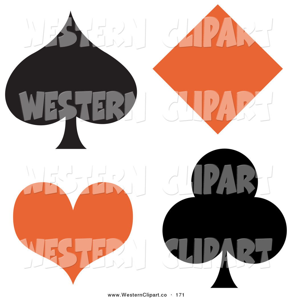1024x1044 Vector Western Clip Art of a Black Spade and Club with an Orange