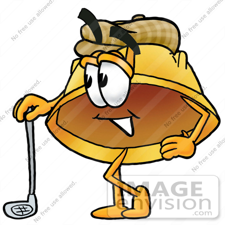450x450 Clip Art Graphic of a Yellow Safety Hardhat Cartoon Character