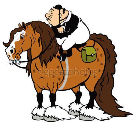 450x421 Fat Rider On Heavy Horse Cartoon Horse And Rider Horse