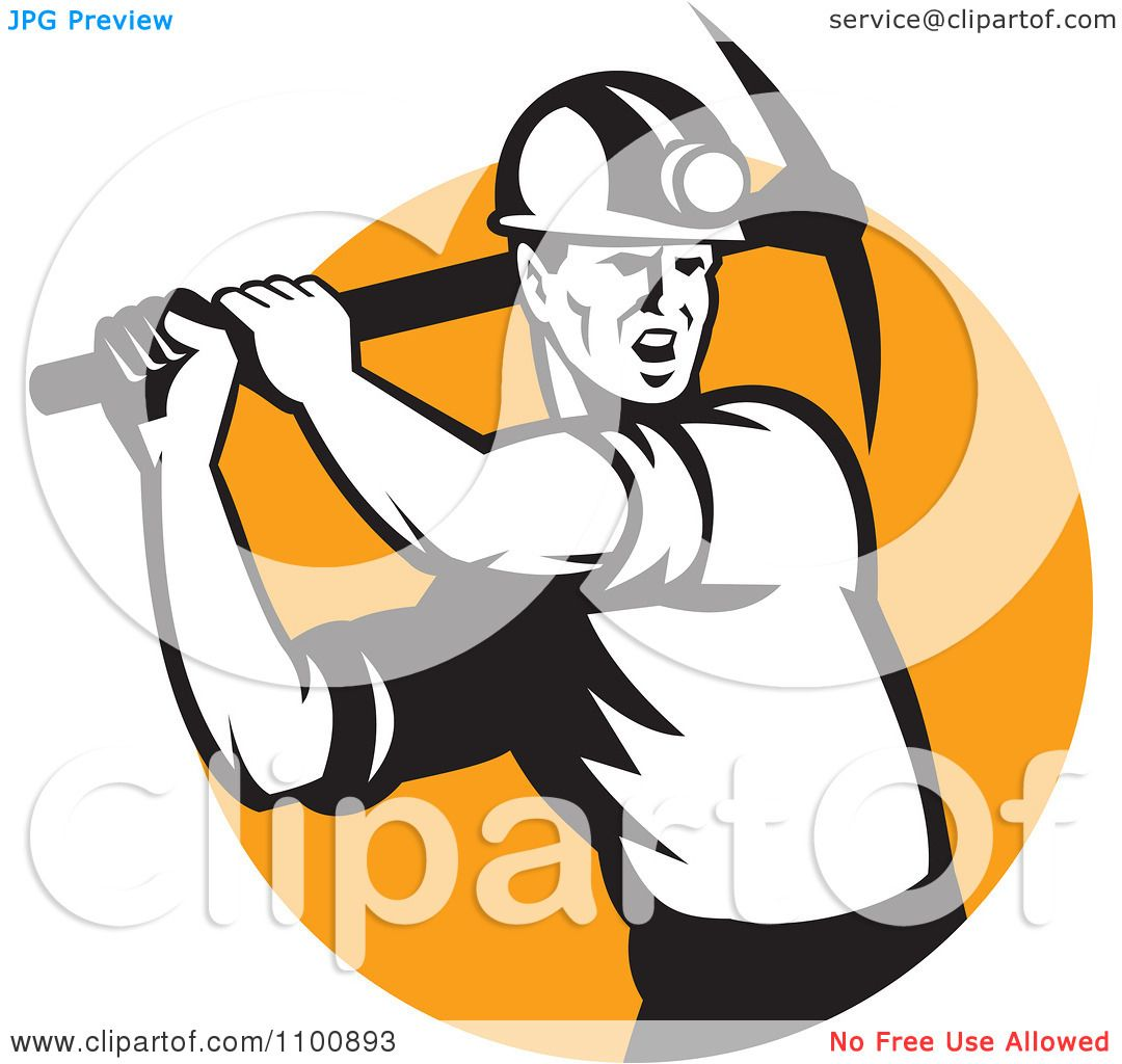1080x1024 Clipart Retro Coal Miner Swinging A Pick Ax Over An Orange Circle