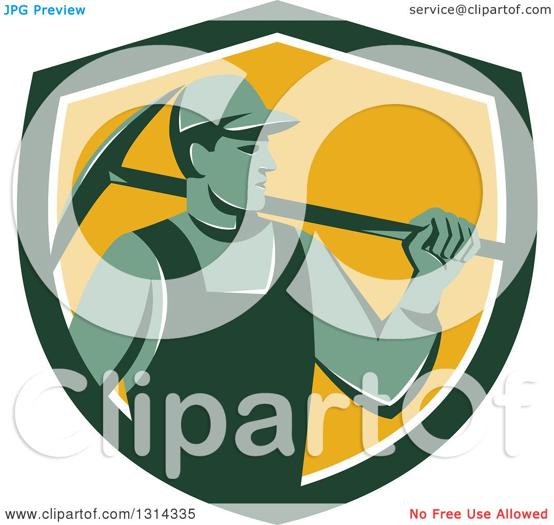 1080x1024 Clipart Of A Retro Male Coal Miner Holding A Pickaxe In A Green