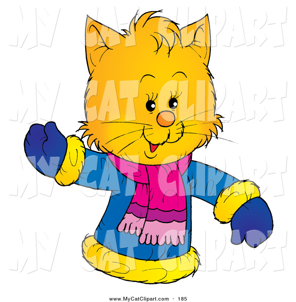 1024x1044 Clip Art Of A Friendly And Smiling Yellow Kitten Wearing A Winter