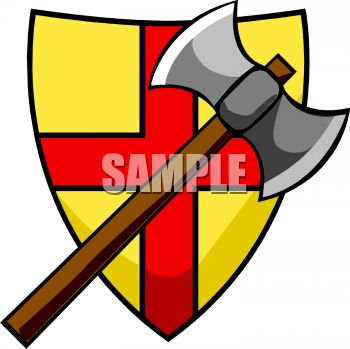 350x349 Battle Axe And Coat Of Arms Clip Art