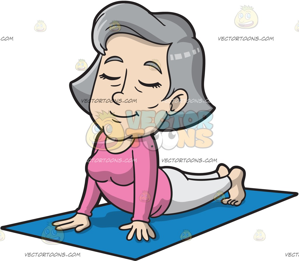 1024x892 A Mature Woman Doing A Cobra Pose Cartoon Clipart