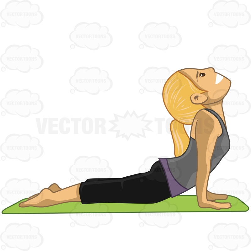800x800 Woman Doing The Yoga Pose Called The Cobra Pose Cartoon Clipart
