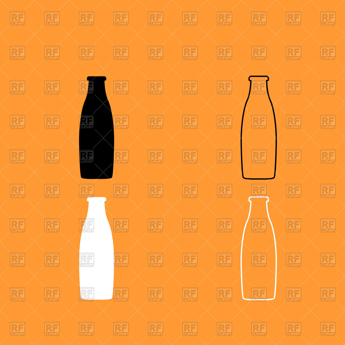 1200x1200 Bottle Icons On Orange Background Royalty Free Vector Clip Art