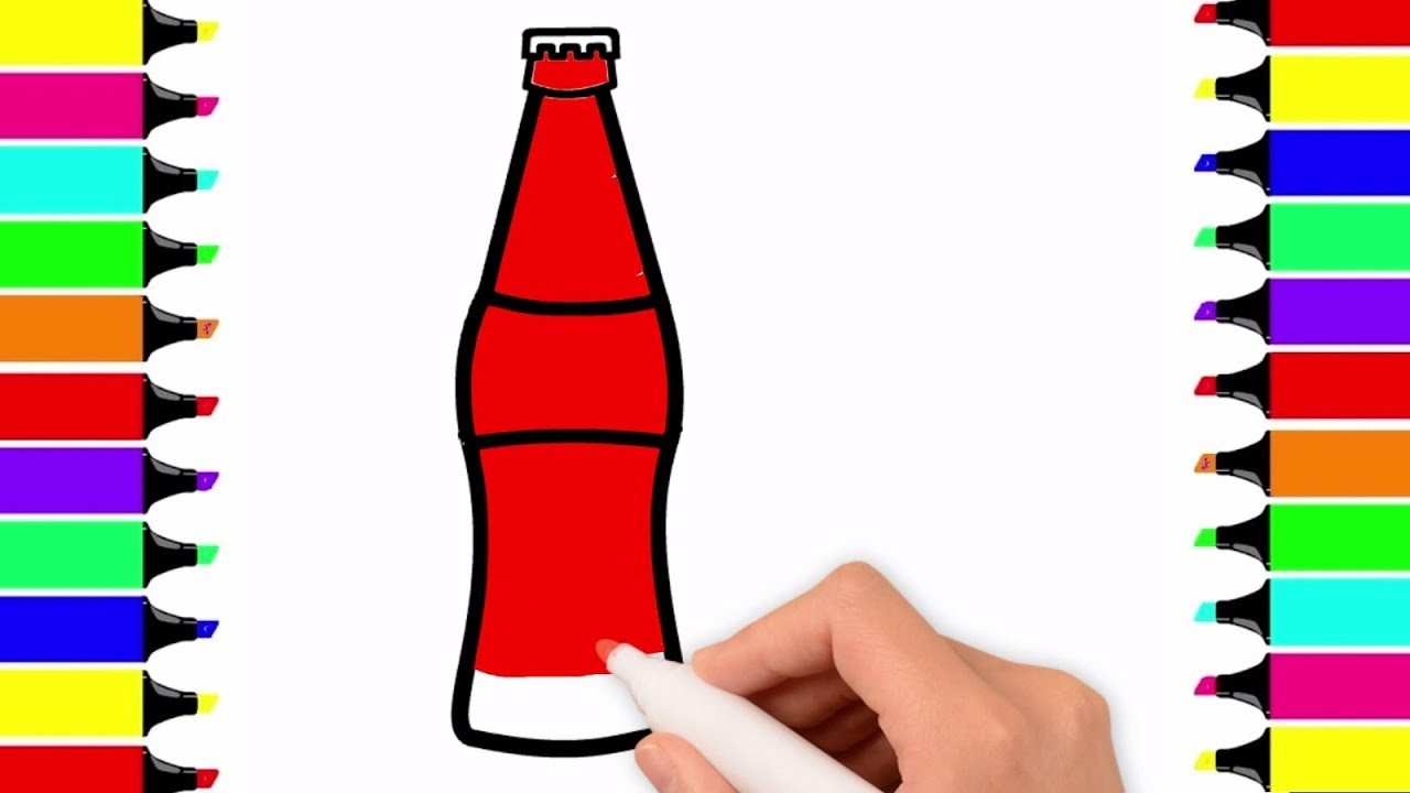 1280x720 Coca Cola Coloring Pages For Kids How To Draw Coca Cola Bottle