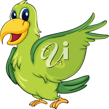 349x350 Cute Parrot On A White Background Animal Clipart