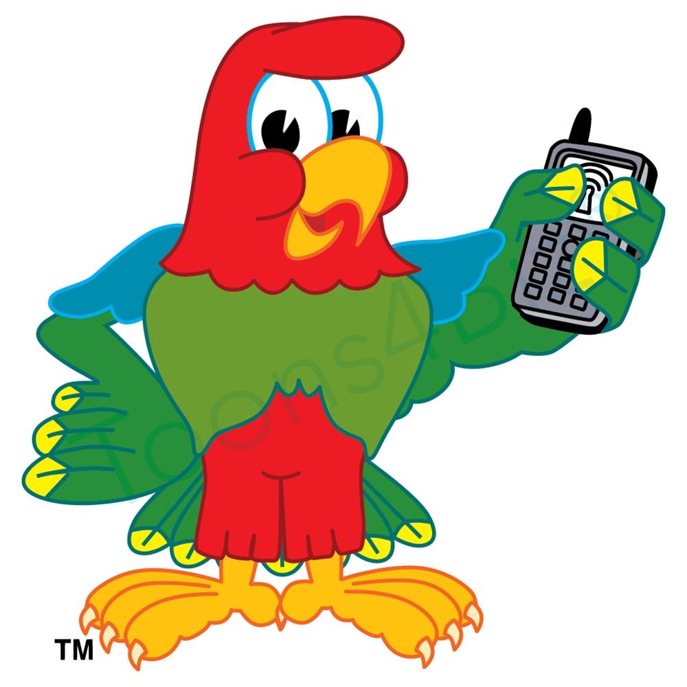 1000x1000 Parrot Mascot Holding Phone Clip Art