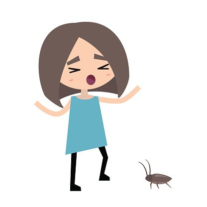 416x416 Scared Girl And A Cockroach Premium Clipart