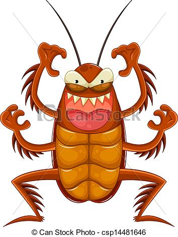 354x470 Scary Cockroach. Cartoon Cockroach Looking Scary Eps Vector