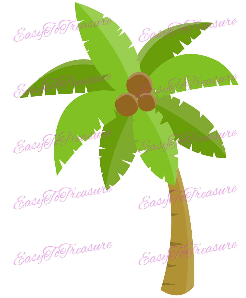 1000x1213 Coconut Tree Clipart, Palm Tree Clip Art, Hawaiian Luau Decor