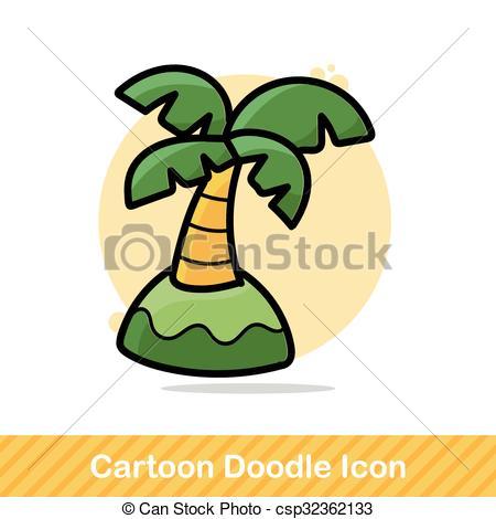 450x470 Coconut Tree Color Doodle Vectors