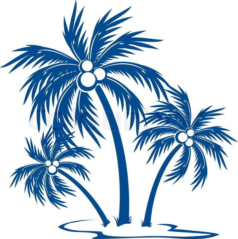 797x800 Silhouette Palm Trees With Coconutse Colour Vector Symbol