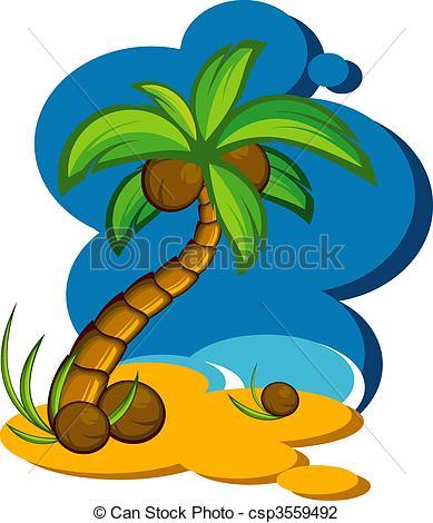 389x470 Vector Illustration With A Coconut Palm. Eps 8, Ai, Jpeg Vector