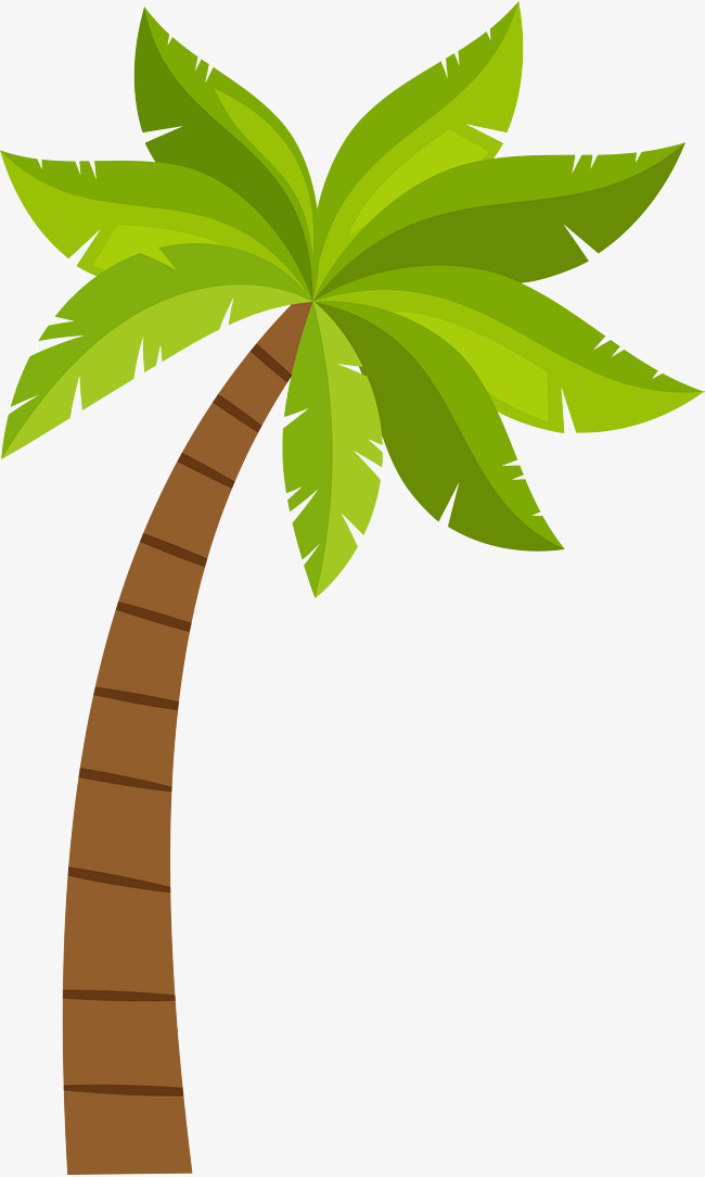 650x1084 Cartoon Coconut Tree Pattern, Green, Coconut Tree, Vector Png