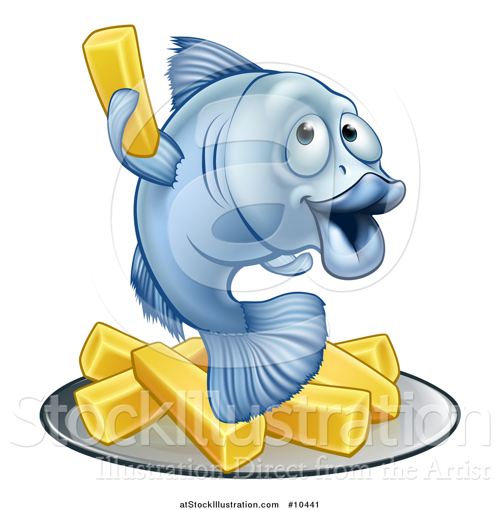 1024x1044 Vector Illustration Of A Happy Blue Cod Fish Holding Up A Fry Over