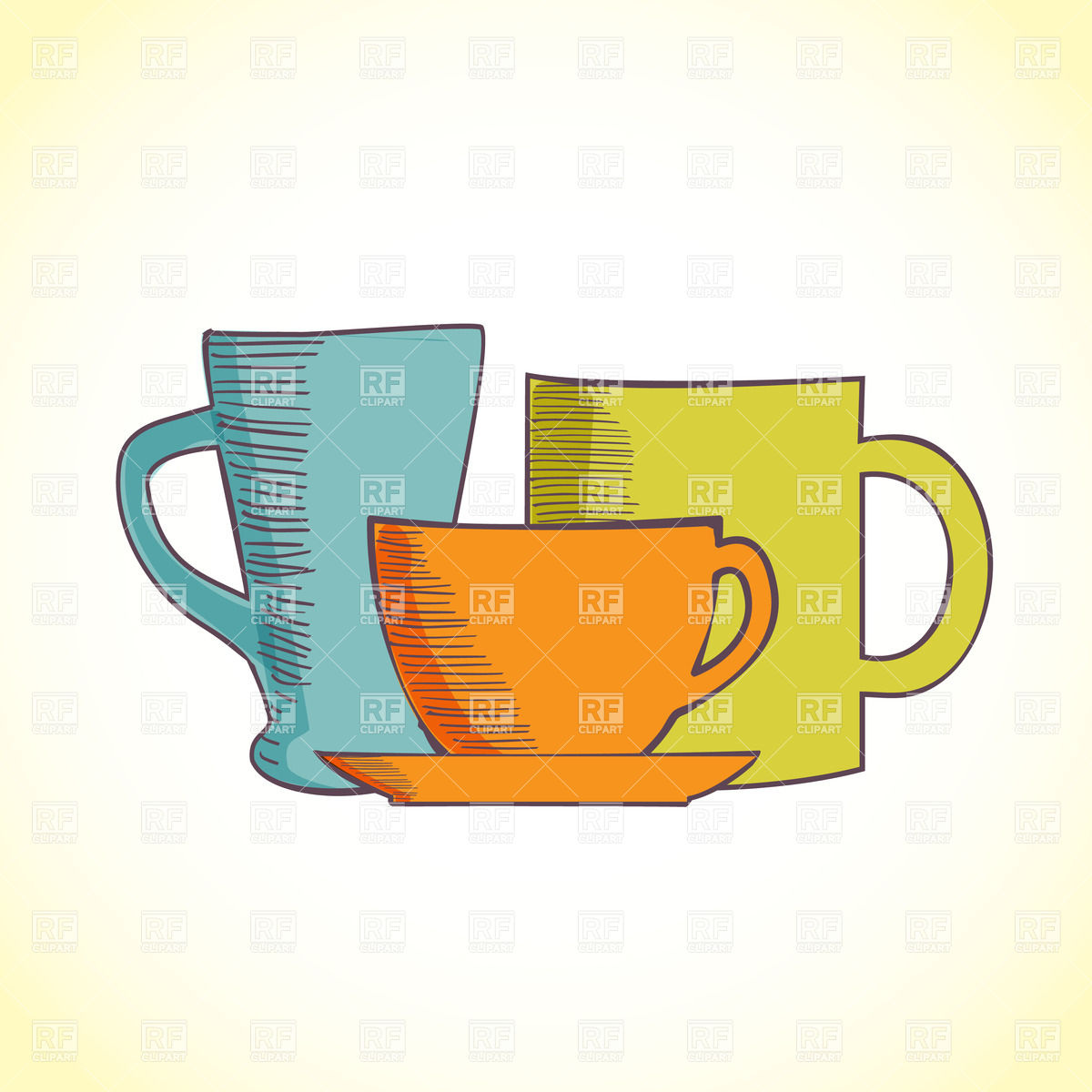 1200x1200 Three Colored Coffee Cups Royalty Free Vector Clip Art Image