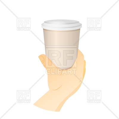 400x400 Hand Holding Paper Cup With Coffee Royalty Free Vector Clip Art