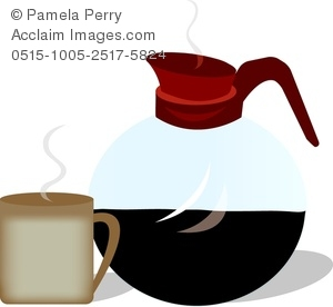 300x276 Clip Art Image Of A Restaurant Pot Of Coffee And A Mug
