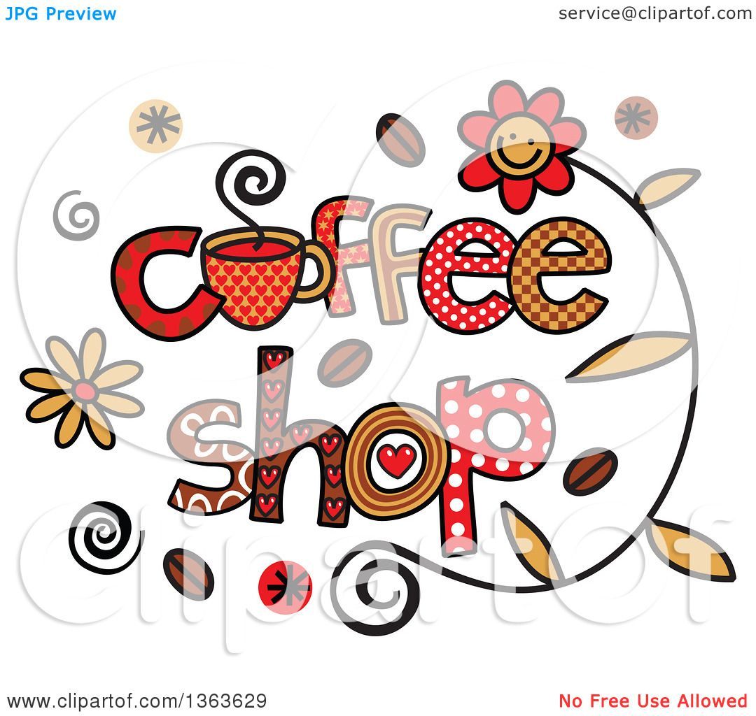 1080x1024 Clipart Of Colorful Sketched Coffee Shop Word Art